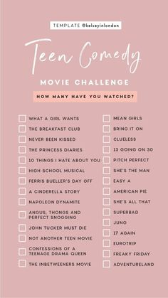 Challenge With Friends - All . -Film Challenge With Friends - All . - Story Templates – FILM/TV – Kelsey Heinrichs Story Templates – FILM/TV – Kelsey Heinrichs Romance Movie Challenge checklist by Kelseyinlondon How many have you watched? Netflix Movie List, Netflix Movies To Watch, Movie To Watch List, Good Movies To Watch, Shows On Netflix, Movies To Watch Teenagers, Netflix Netflix, Comedy Movies List, List Of Netflix Movies