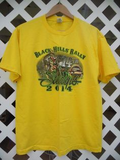BLACK HILLS RALLY 2014 Skeleton Bike Cards Graphic Men's T Shirt Size L Yellow #AlstyleApparelActivewear #GraphicTee