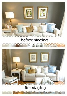 Staging-she remove family photos and added decorative wrapping paper.
