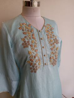 Best 12 Colors & Crafts Boutique™ offers unique apparel and jewelry to women who value versatility, style and comfort. We specialize in customized attires Embroidery On Kurtis, Hand Embroidery Dress, Kurti Embroidery Design, Embroidery Neck Designs, Embroidery Fashion, Zardozi Embroidery, Beaded Embroidery, Dress Indian Style, Indian Wear