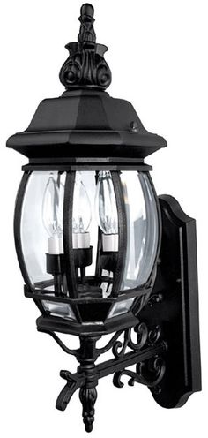 "0-002775>24""h French Country 3-Light Outdoor Fixture Black"