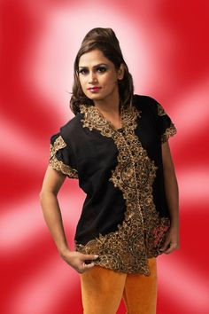 The attire which reflects the aura of inner beauty.  Style: Kebaya - #Top House: Glamour & Glitz - Bandung, Indonesia Fabric: Net with Golden thread artwork Size: Free Color: Black Price: Rs.2000 Purchase Mode: Book through FB Inbox / WhatsApp / Ramp Club Store for more Designs.