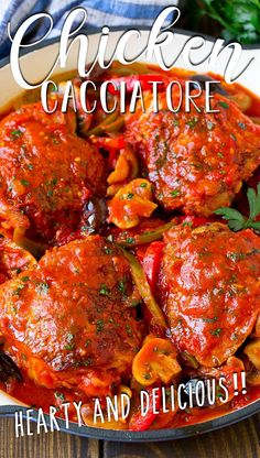 This recipe for chicken cacciatore is a classic dish made with braised chicken and an assortment of vegetables, all cooked together in a flavorful tomato sauce. It's an easy dinner that the whole family will love! Best Healthy Dinner Recipes, Lunch Recipes, Recipes Dinner, Easy Recipes, Tasty Dishes, Food Dishes, Slow Cooker Recipes, Cooking Recipes, Chicken Cacciatore