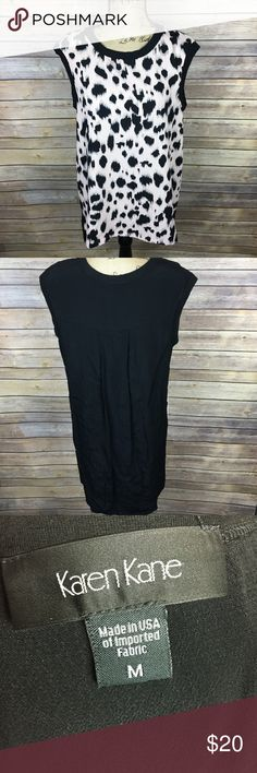 Karen Kane Sz Medium Light Pink Black Blouse Pre-owned Karen Kane Women's Blouse Size Medium Light Pink Black Animal Print Sleeveless  *Bust is 21 inches laying flat. *Length is 26 inches in the front and 32.5 inches in the back from shoulder to bottom hem. Karen Kane Tops Blouses