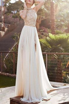 Elegant Halter Neck Sleeveless Backless High Slit Women's Maxi Dress
