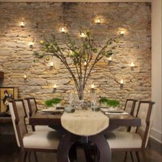 Stone wall & candles Dining room