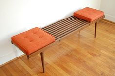 George Nelson Inspired Mid Century Modern Slatted Bench with Orange Cushions from ljindustries on Etsy. Saved to home body. Diy Furniture Legs Ideas, Mcm Furniture, Home Decor Furniture, Furniture Design, Plywood Furniture, Chair Design, Design Design, Outdoor Furniture, Mid Century Living Room