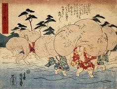 Tanuki print by Utagawa Kuniyoshi --All-purpose tanuki testicles (prints by Kuniyoshi) -- In the mid-1840s, ukiyo-e master Utagawa Kuniyoshi (1797-1861) created a number of woodblock prints showing legendary tanuki (raccoon dogs) using their humorously large scrota in creative ways.