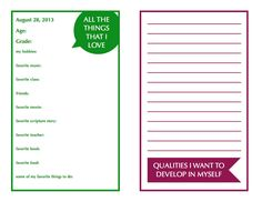 YOUNG WOMEN'S wednesday night activity idea....personal time capsules! Free card printables!