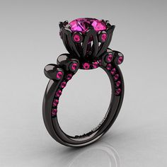 French Antique 14K Black Gold 3.0 Carat Pink Sapphire Solitaire Wedding Ring Y235-14KBGPS