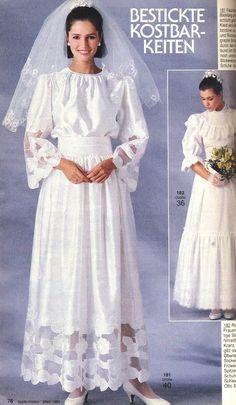 1984, Burda moden Retro Wedding Dresses, Vintage Weddings, Bridal Gowns, Wedding Gowns, 1980s Wedding, Gown Pattern, Bridal Beauty, Burda Patterns, Sewing Patterns
