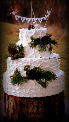 Rusic Pinecones Wedding Cake with bride and groom cake pops toppers under a bunting, Cupcake Novelties, Fairfax VA - Gourmet Cupcakes, Wedding Cakes, Cake Pops, Cookies & Cakes, Edible Cupcake Arrangements, Cupcake Bouquets, Cupcake Gifts, French Macarons & Treats