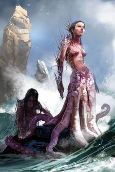 Fantasia e ficção científica nas ilustrações de Brenoch Adams - Sereia