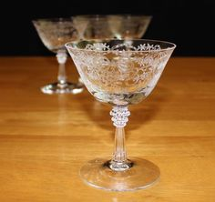 Pretty, Set of 4, Vintage Fostoria Romance, Etched Champagne Glasses by cocoandcoffeevintage