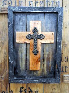 Items similar to Rustic Mission Style Wood and Metal Framed Cross Wall Hanging Discounted on Etsy