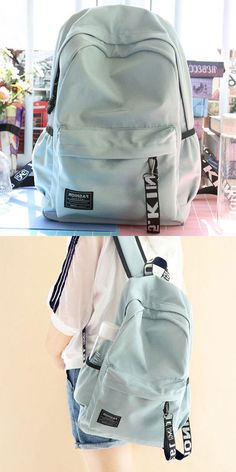 66e8b8886557 Fresh Letters Belts School Bag Young Simple Waterproof Pure Color Travel  Backpack