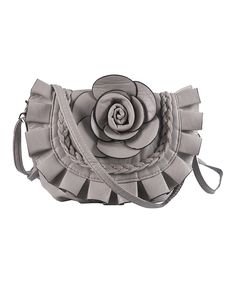 a330f8282598 Look at this Mellow World Gray Braided Rosette Twill Crossbody Bag on   zulily today!