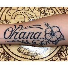 polynesian hibiscus and ohana tattoo design -