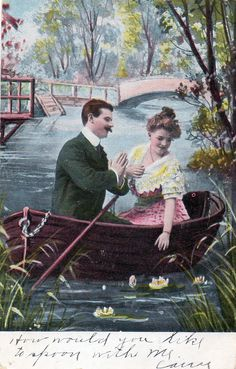 Vintage Postcard Spooning on the River
