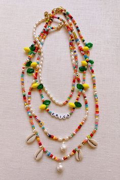 DIY Beaded Summer Necklaces – Honestly WTF Summer has officially begun and so has the heavy rotation of of playful, summery accessories – most favorably, jewelry. I've been collecting African trade beads, pearls and shells for almost a decade, so when I… Diy Jewelry, Beaded Jewelry, Jewelery, Jewelry Accessories, Handmade Jewelry, Fashion Jewelry, Jewelry Making, Beaded Bracelets, Jewelry Findings