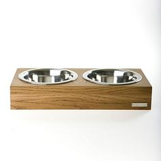 DOUBLE WOODEN DOG BOWL by Mungo & Maud
