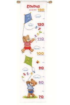Teddies Height Chart is a fabulous counted cross stitch height chart sampler design from Vervaco. Chart your little one's progress as they pass each of the teddies  Each kit comes with stranded cotton, aida fabric, needle, alphabet, chart and instructions.  Type: Counted cross stitch kit.  Fabric: 14 count white Aida cotton fabric  Size: 18 x 70 cm