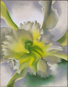 Op dit schilderij zie je een centrale compositie, want de bloem in het midden trekt als eerste je blik