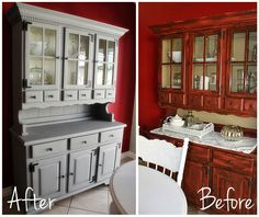 Paint Me Pink Dining Room Hutch Makeover