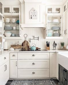 Blue kitchen decor white kitchen decor stunning farmhouse kitchen decor ideas you have to try you . Kitchen Inspirations, Gray And White Kitchen, Coastal Inspired Kitchens, Farmhouse Kitchen Island, Black Kitchen Decor, Farmhouse Kitchen, Kitchen Layout, Blue Kitchen Decor, U Shaped Kitchen