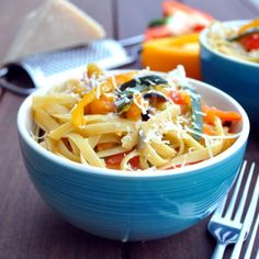 Incredibly tasty pasta loaded with veggies. Easy to make, ready in no time, super healthy and so colorful!