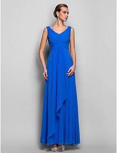 Formal Evening/Military Ball Dress - Ocean Blue Plus Sizes Sheath/Column V-neck Floor-length Georgette – USD $ 89.99