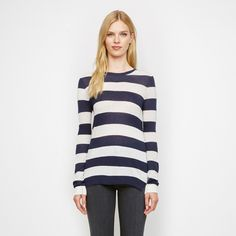 Cashmere Jersey Rugby Stripe Long Sleeve Tee - Navy/White