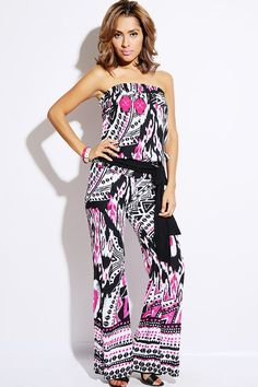 #1015store.com #fashion #style bold pink/black ethnic print strapless smocked waist party jumpsuit-$15.00