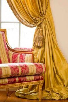 BRASS SILK curtain dupioni silk yellow gold window dressing draping home decor interior curtains yellow curtains dark yellow Silk Curtains, Yellow Curtains, Burlap Curtains, Drapery Panels, Office Interior Design, Interior Decorating, Interior Ideas, Decorating Ideas, Damask Decor