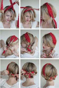 The Polka Dot Pigtails, Bandana Hairstyle[ Quick And Easy Hairstyles For School : Cute Hairstyles You Can Do With A Scarf- The Polka Dot Pigtails - Try These Super Easy Haircuts And Hair StylesComment nouer un foulard rectangulaire dans les cheveux ? Easy Summer Hairstyles, Pretty Hairstyles, Braided Hairstyles, Bandana Hairstyles Short, Quiff Hairstyles, Goddess Hairstyles, Wedding Hairstyles, Hairstyles With Scarves, Fashion Hairstyles