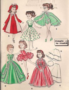 Vintage 1950s, Butterick 8354, Doll Wardrobe Pattern, Magic to Make, Fits Miss Revlon, Cissy, Lilo, and My Fair Lady. $25.00, via Etsy.