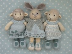 Bluegirls knitting like mad and living with autism in the family. Knitting patterns for toys and novelties, some free and some to buy. Knitted Bunnies, Knitted Animals, Crochet Bunny, Crochet Toys, Crochet Birds, Knitted Baby, Knitted Doll Patterns, Animal Knitting Patterns, Knitted Dolls