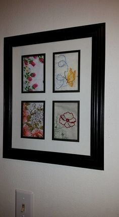 Needlework Projects framed old hankies, repurposing upcycling, wall decor - These were my mothers and grandmothers hankies All I did was iron some old hankies of my mothers and grandmothers . I folded them to show most of the color and… Vintage Crafts, Vintage Decor, Vintage Ideas, Vintage Stuff, Vintage Embroidery, Embroidery Designs, Crewel Embroidery, Applique Designs, Embroidery Thread