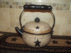 Primitive Crackle Metal Teapot ~ Black Stars ~ Country Decor #NaivePrimitive