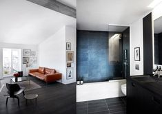 Black floor and art on the walls - via cocolapinedesign.com