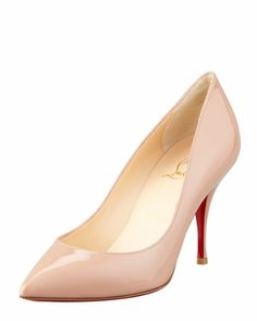 FALL 2013 MINIMALIST | Christian Louboutin Piou Piou Patent Point-Toe Red Sole Pump, Nude