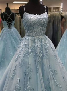Beautiful A Line Spaghetti Straps Blue Long Prom/Evening Dresses with Appliques - Prom dresses 2020 Pretty Prom Dresses, Prom Dresses Blue, Ball Dresses, Ball Gowns, Amazing Dresses, Grad Dresses, Dresses Dresses, Dress Prom, Fashion Dresses