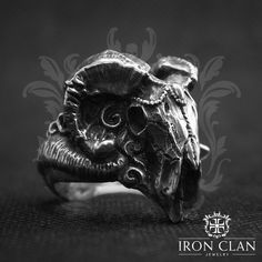 Mens Skull Jewelry, Gothic Jewelry, Aztec Rings, Warrior Ring, Cast Art, Welcome Card, Demonology, Biker Rings, Jewelry Polishing Cloth