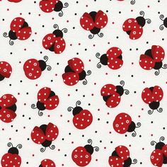 Timeless Treasures C3616 Ladybug on Red Dot White Cotton Novelty Fabric by the Yard