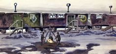 """Freight Car Dwellings"" by Charles Burchfield, 1920"