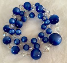 Royal blue thermostat necklace moon glow with AB crystals from GiosGems on etsy