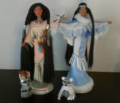 https://flic.kr/p/ohJmRr | Feathers in the Wind an Winter Moon Pocahontas | Again with the 90's quality! Mattel really outdid themselves with these two, both dresses are lined, they have actual feathers instead of molded ones, and best of all... MEEKO! Pocahontas is tied with Snow White to be my favorite princess, which makes sense since I have the most dolls of the two. :P