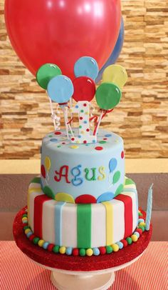 Fun balloon birthday party cake! See more party ideas at CatchMyParty.com!