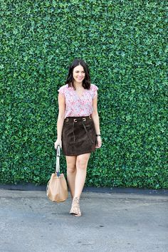 We're loving this suede skirt look on our Chic of the Week: Jessica