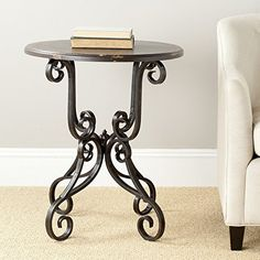Safavieh American Home Collection Chartreuse Antique Black Iron Side Table ** Continue to the product at the image link.